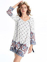 Women's Casual/Daily Simple A Line Dress,Print Round Neck Above Knee Long Sleeve White Linen /  All Seasons / Fall