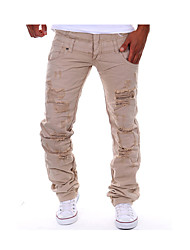 Men's Fashion Personalized Double Waist Hole Leisure Cargo Tooling Pants, Casual / Hole/Straight