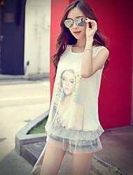 Rosa Doll® Damen Rundhalsausschnitt Ärmellos T-Shirt Weiß-X15BTS048