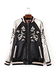 Women's Embroidery Going out Vintage / Simple Spring / Fall Jackets,Patchwork / Pink Polyester Medium
