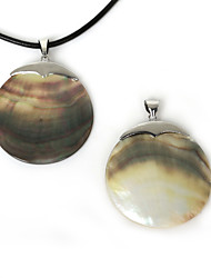 Beadia 50mm Natural Round Mother of Pearl Black Shell Pendant (1Pc)