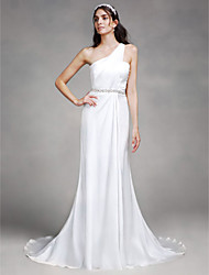 LAN TING BRIDE Sheath / Column Wedding Dress Simply Sublime Court Train One Shoulder Satin with Beading