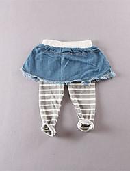 Mädchen Leggings-Lässig/Alltäglich einfarbig Baumwolle Herbst Blau
