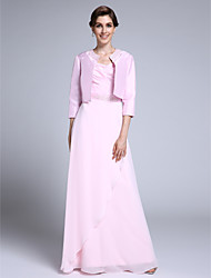 Lanting Bride® Sheath / Column Mother of the Bride Dress Floor-length 3/4 Length Sleeve Chiffon with Beading