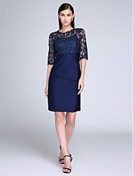 2017 ts couture®cocktail bainha de vestido de festa / coluna jóia na altura do joelho laço / jersey com rendas
