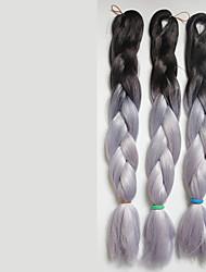 grey Box Braids Jumbo Hair Extensions 24inch Kanekalon 3 Strand 80-100g/pcs gram Hair Braids