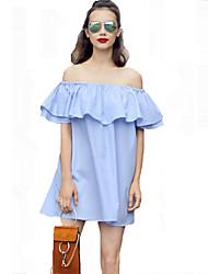 Mulheres Solto Vestido,Casual Simples Listrado Decote Canoa Mini Manga Curta Azul Outros Verão