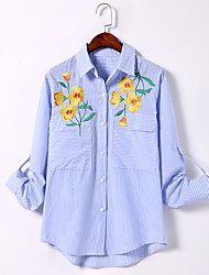 Women's Casual/Daily Simple / Boho All Seasons Shirt,Embroidered Shirt Collar Long Sleeve Blue Cotton Thin