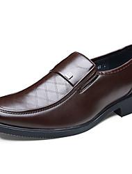 Herren-Flache Schuhe-Büro Lässig-Leder-Flacher Absatz-Komfort formale Schuhe-Schwarz Braun