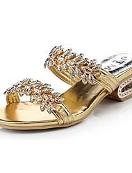 Damen-Slippers & Flip-Flops-Lässig-Schweineleder-Flacher AbsatzSchwarz Silber Gold