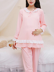 Maternity Round Neck Lace / Peplum Set,Cotton Long Sleeve