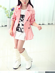 Girls' Casual/Daily Solid Trench Coat,Cotton Spring Fall Winter Long Sleeve
