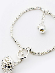 Silver Hollow Ball Pendant Bracelet