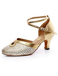 Zapatos de baile(Rojo / Oro) -Latino / Salsa-No Personalizables-Tacón Cuadrado