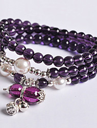 Fashionable Purple 74cm Round Strand Bracelets
