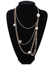 Simple Multi-Chain Necklace Pearl Starfish