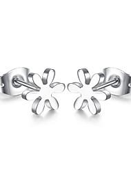 Earring Flower Stud Earrings Jewelry Women Fashion Daily / Casual Titanium Steel 1 pair Silver