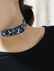 Women Korean Fashion Eiffel Tower Printing Fabric Collar Necklaces Jewelry 1pc