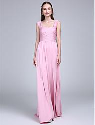Lanting Bride® Floor-length Jersey Bridesmaid Dress - Sheath / Column Straps with Criss Cross / Ruching