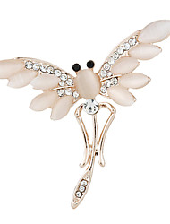 Fashion Gold Plated Alloy Opal Dragonfly Brooches for Women