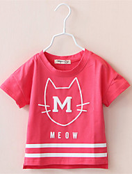 Short-Sleeved T-Shirt Female Baby Girls New Children'S Clothing Children Cat Shirt