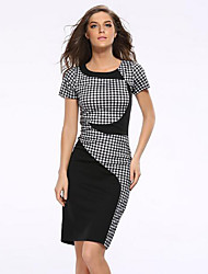 Women's Casual/Daily Vintage Plus Size / Sheath Pencil Dress,Plaid Round Neck Above Knee Short Sleeve