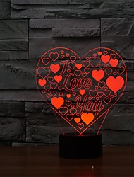 3D LED Lamp Love Heart Shape Romantic Holiday Colorful Night LightColor-Changing Night Light