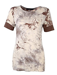 Damen Galaxis Street Schick Lässig/Alltäglich T-shirt,Rundhalsausschnitt Sommer Kurzarm Schwarz / Braun Baumwolle Mittel
