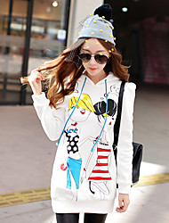 Pink Doll® Women's Fashion Print Round Neck Long Sleeve Hoodie White-X14CSW048