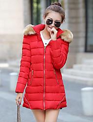 Пальто Простое Уличный стиль Обычная Пуховик Для женщин,Однотонный На выход На каждый день Хлопок Полиэстер Без наполнителя,Длинный рукав