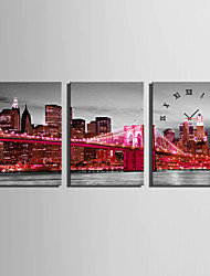 E-HOME® The City's Red Neon Clock in Canvas 3pcs