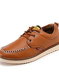 Men's Shoes PU Work & Duty / Casual Oxfords Work & Duty / Casual Walking Flat Heel Lace-up Black / Brown / Orange