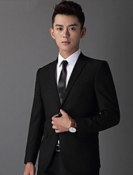 Suits Standard Fit Notch Single Breasted Two-buttons Wool & Polyester Blended Solid 2 Pieces  Straight Flapped None