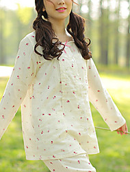 Maternity Round Neck Lace Blouse,Cotton Long Sleeve