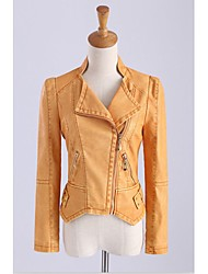 Women's Casual/Daily Simple Spring / Fall Leather Jackets,Solid Shirt Collar Long Sleeve Black / Orange Polyester Medium
