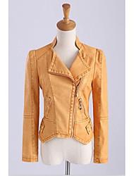 Mulheres Jaquetas de Couro Casual Simples Primavera / Outono,Sólido Preto / Laranja Poliéster Colarinho de Camisa Manga Longa Média