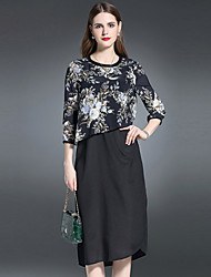 ES·DANNUO Women's Going out Sophisticated Sheath Dress,Floral Round Neck Midi ¾ Sleeve Black Linen Summer
