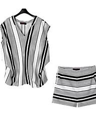 Damen Gestreift Street Schick Lässig/Alltäglich T-shirt,V-Ausschnitt Sommer Kurzarm Grau Polyester Undurchsichtig