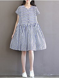 Maternity Casual/Daily Simple Loose Dress,Striped Round Neck Knee-length Short Sleeve Blue Rayon Spring
