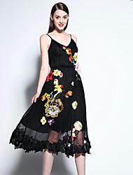 мэри янь& ю женские, выходящие сложные качели платье, вышитые ремешок миди без рукавов черный полиэстер летом