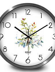 Fresh Garden Leaves Bedroom Living Room Decorative Metal Mute Quartz Wall Clock