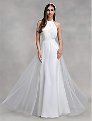 2017 Lanting Bride® A-line Wedding Dress Floor-length Halter Chiffon / Tulle with Draped