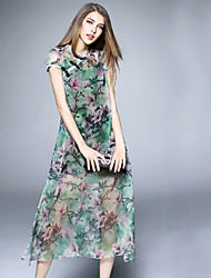 BOMOVO® Women's Round Neck Short Sleeve Tea-length Dress-B16XQ8K