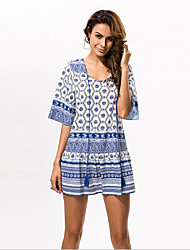 En couleur Femme Col Arrondi Manches 1/2 Genou Robes-533763025803