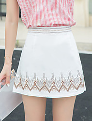 Women's Embroidered White / Black Skirts,Casual / Street chic High Waist Mini Polyester