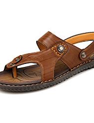 Men's Slippers & Flip-Flops Summer PU Casual Flat Heel Others Brown Yellow Khaki Walking