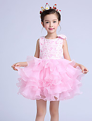 Ball Gown Short / Mini Flower Girl Dress - Cotton / Lace / Organza Sleeveless Jewel with Bow(s) / Tiers