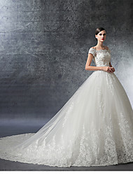 A-line Wedding Dress Cathedral Train Off-the-shoulder Satin / Tulle with Beading / Crystal / Ruffle / Appliques