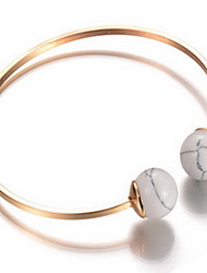 Alloy Round Bead Natural Stone Gem Adjustable Cuff Bangle Bracelet