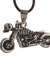 Titanium Steel Vintage Necklace with a Hide Rope--Skeleton Motorcycle